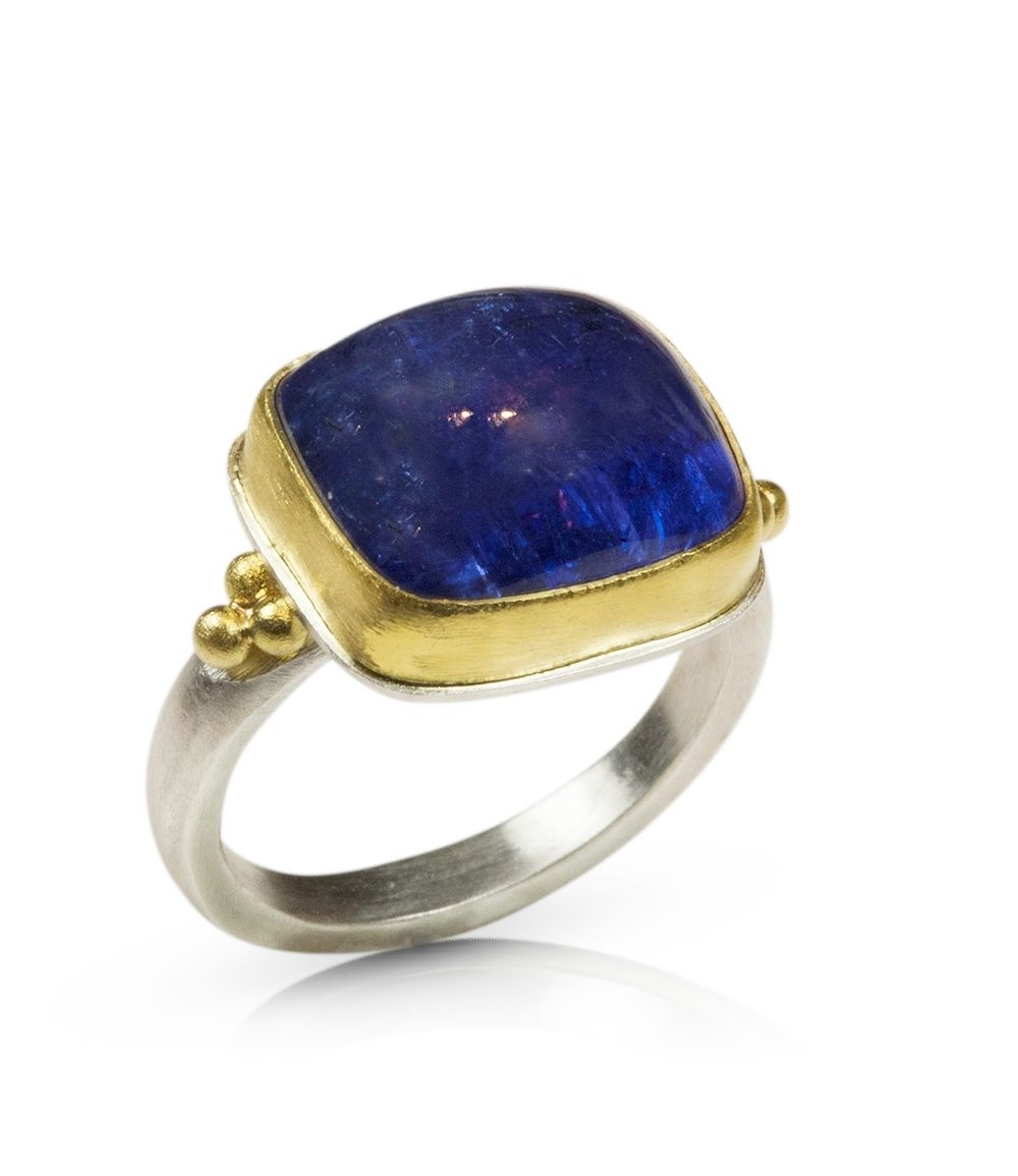 Hand Made Tanzanite Cabochon Ring By Nancy Troske