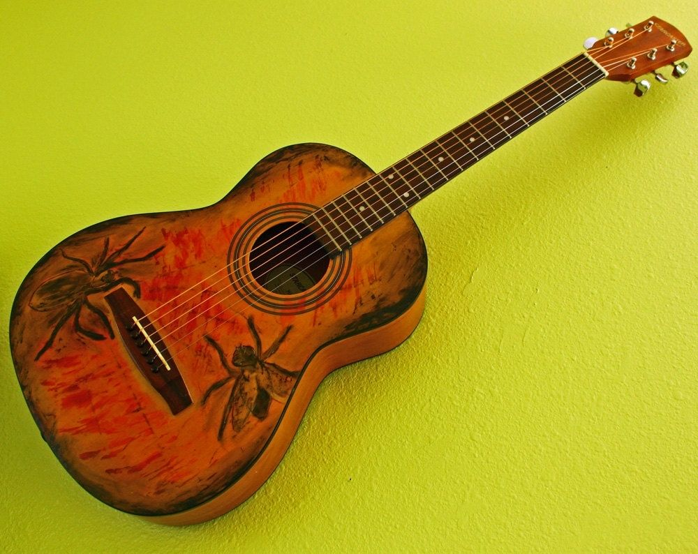 Custom Playable Guitar Wall Art With Spider Versus Fly Design by ...