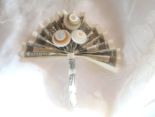 "Custom Made Money With Buttons Wedding Boutonniere ""We're In The Money"""