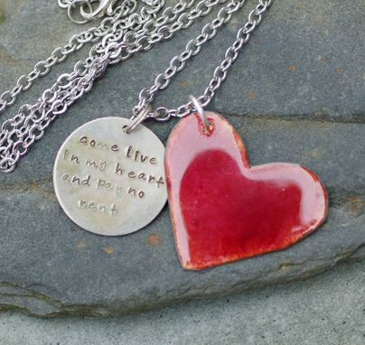 Custom Made Enamel Heart Necklace Handstamped Tag Pendant Enameled Jewelry Sun Red, Come Live In My Heart