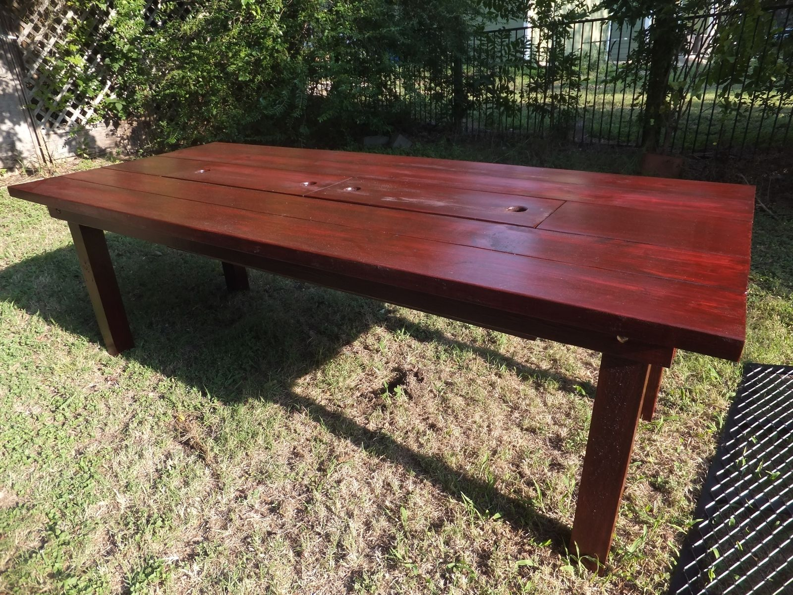 Custom patio table with built in cooler by thh creations Picnic table with cooler plans