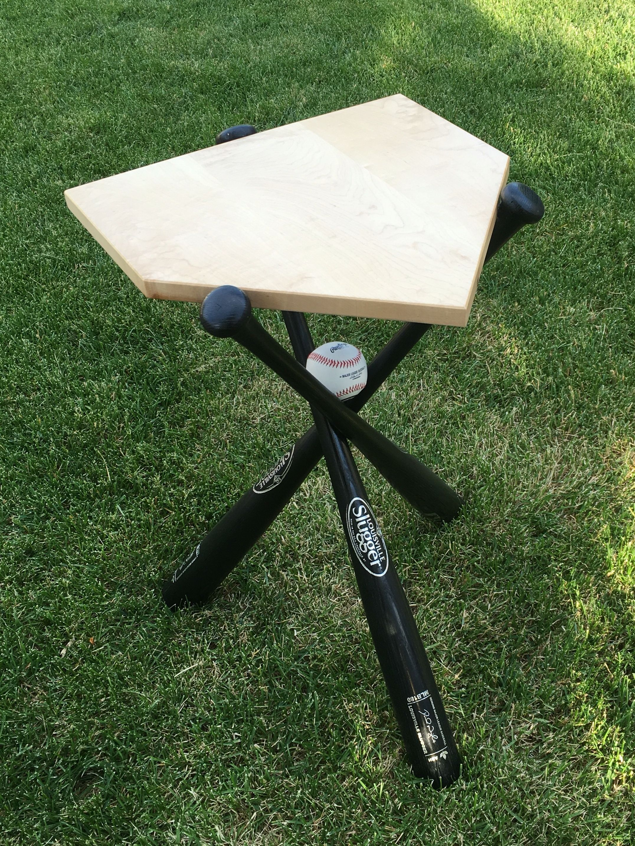 Hand Crafted Baseball End Table By Rocky Mountain