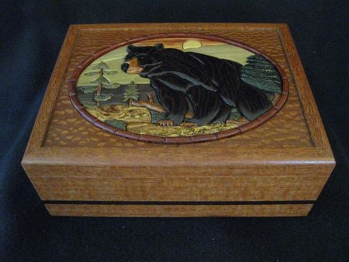 Custom Made Intarsia Bear Keepsake/Jewelry Box