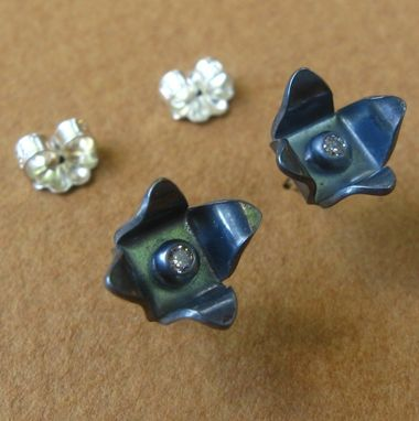 Custom Made Eclipse Studs In Sterling Silver And Cz