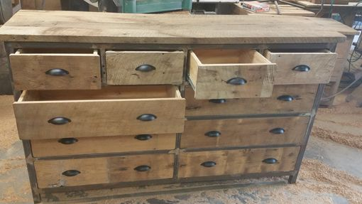 Custom Made Reclaimed 10 Drawer Wooden And Metal Dresser