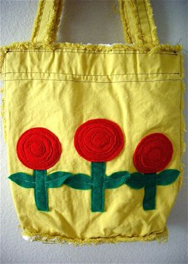 Custom Made Felt Flower Appliques On Canvas Tote