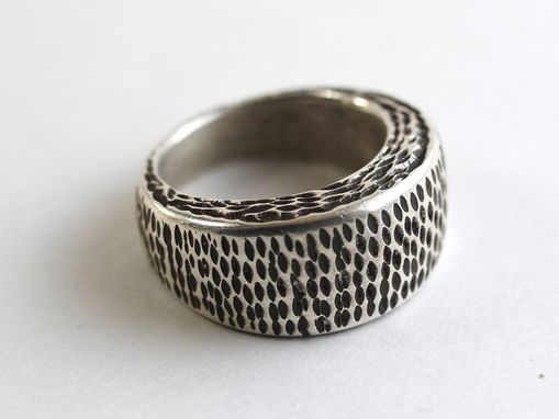 Custom Made Solid Sterling Silver Hand Textured Ring