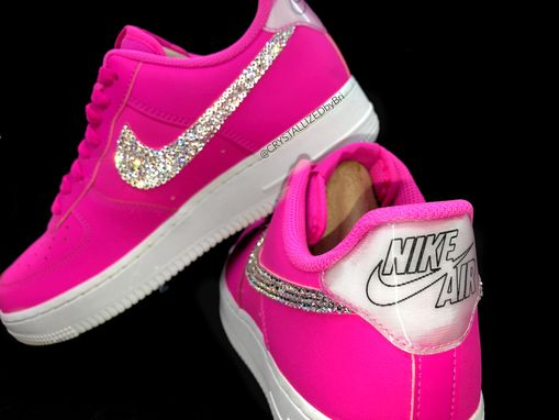 Custom Made Nike Crystallized Air Force 1 Women's Sneakers Bling W/ Swarovski Crystals Bedazzled Pink