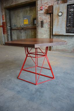 Custom Made Modern Hexagon Dining Table With Extension Top In Walnut And Steel