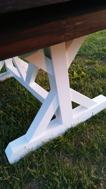 Custom Made Pine Trestle Table Farmhouse