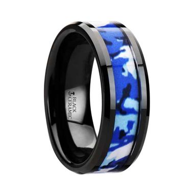Custom Made Recoil Black Ceramic Ring With Blue And White Camouflage Inlay - 8mm