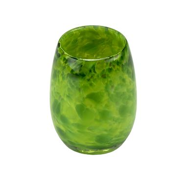 Custom Made Votive Candle Holder. Hand Blown Art Glass Votive In Green.