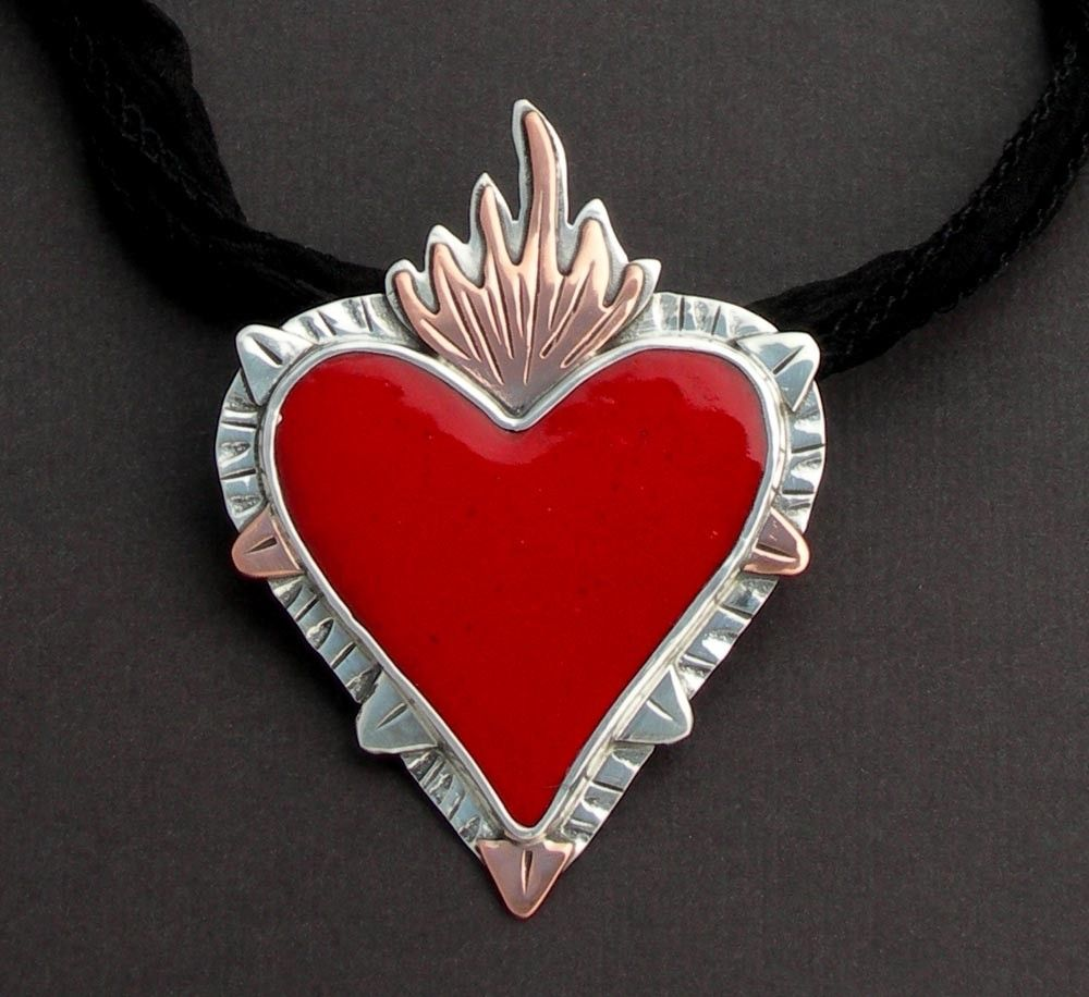 Hand made sacred heart pendant enamel by julie glassman enamel custom made sacred heart pendant enamel aloadofball Images