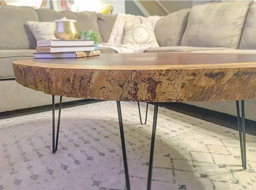 Custom Made Live Edge Round Acacia Coffee Table