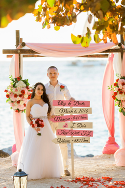 Custom Made Beach Wedding Sign, Arrow Wood Destination Signage, I Do's Wooden Sign