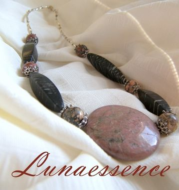 Custom Made Black And Pink Rhodonite Coin Pendant And Jasper Necklace