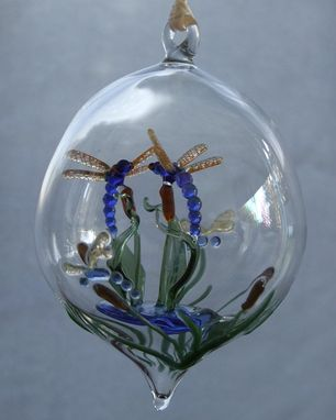 Custom Made Dragonflies On Cattails.  Hand-Blown Glass Ornament