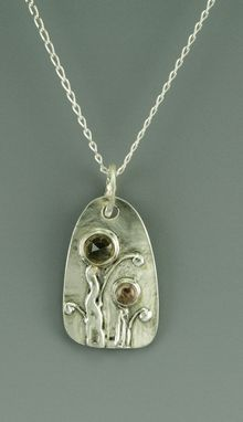 Custom Made Fine Silver And Gemstone Pendant Necklace