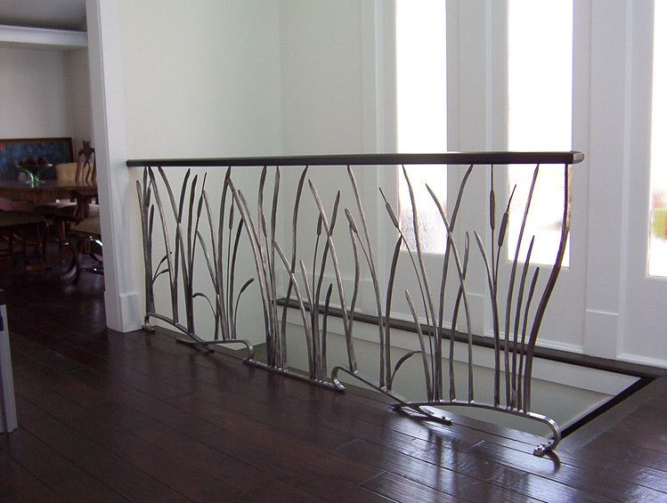 Custom cat tail and willow interior wrought iron railing