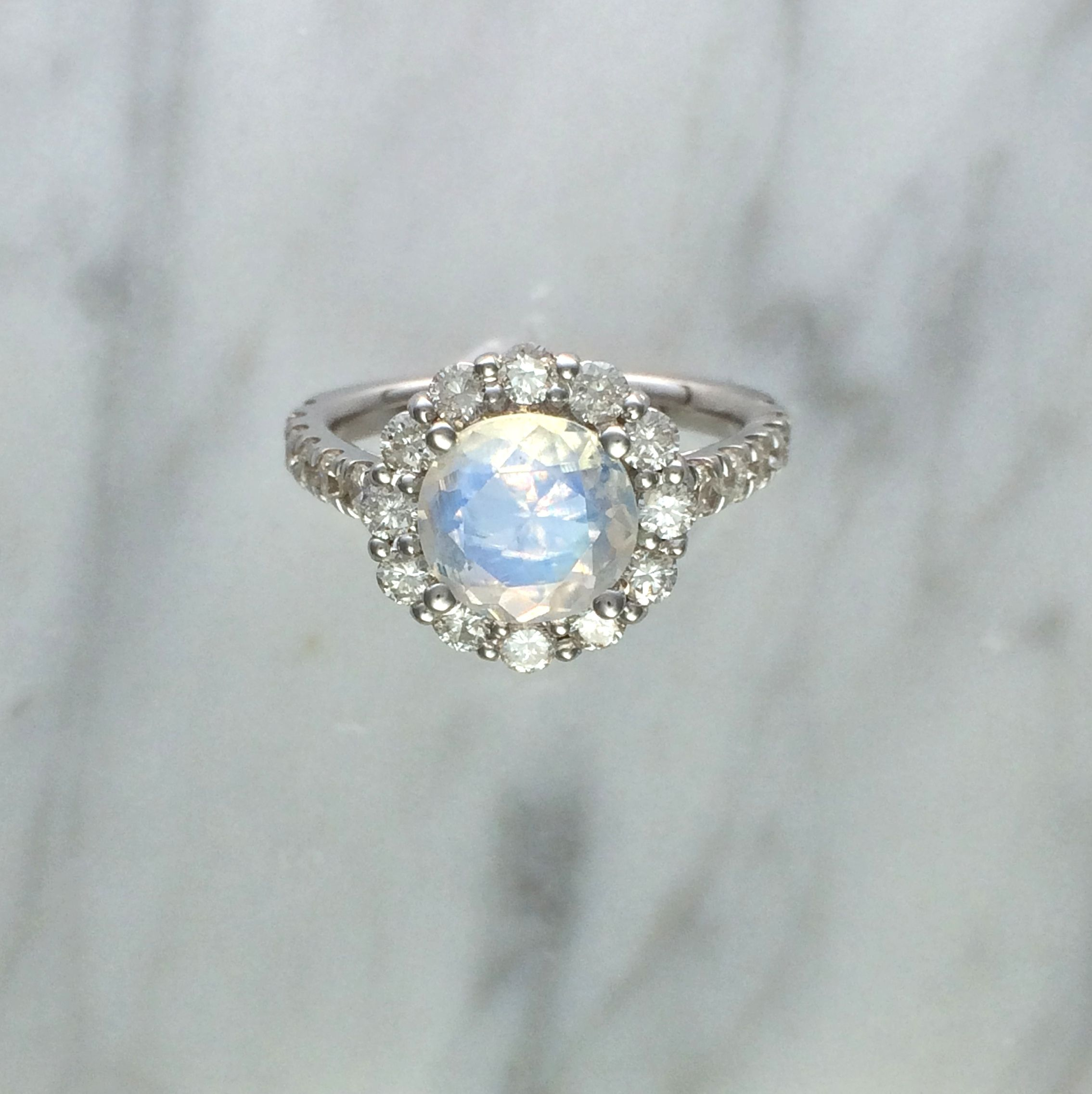 buy a hand made blue rainbow faceted moonstone diamond