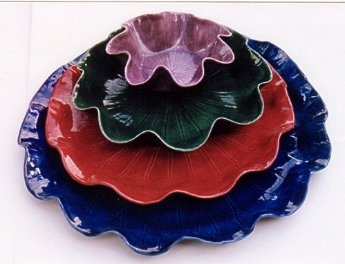 Custom Made Ceramic Lotus Leaf Dinnerware - 4 Piece Set