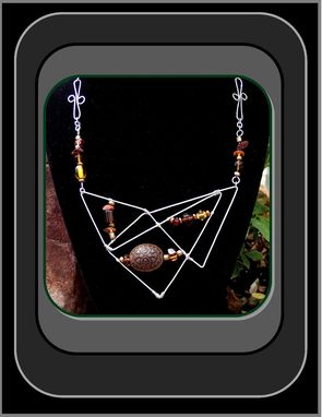 "Custom Made Wearable Art Statement Jewelry ""Abstract Geometry"" Large Pendant Necklace Silver Wood Gems Natural Earthtones Artistic Artist Created Gift"