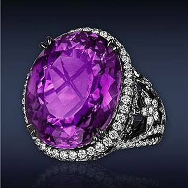 Custom Made Fantasy Cut Amethyst Diamond Ring