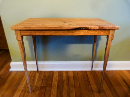 Custom Made Side Table Reclaimed Oak And Cherry With Inlay