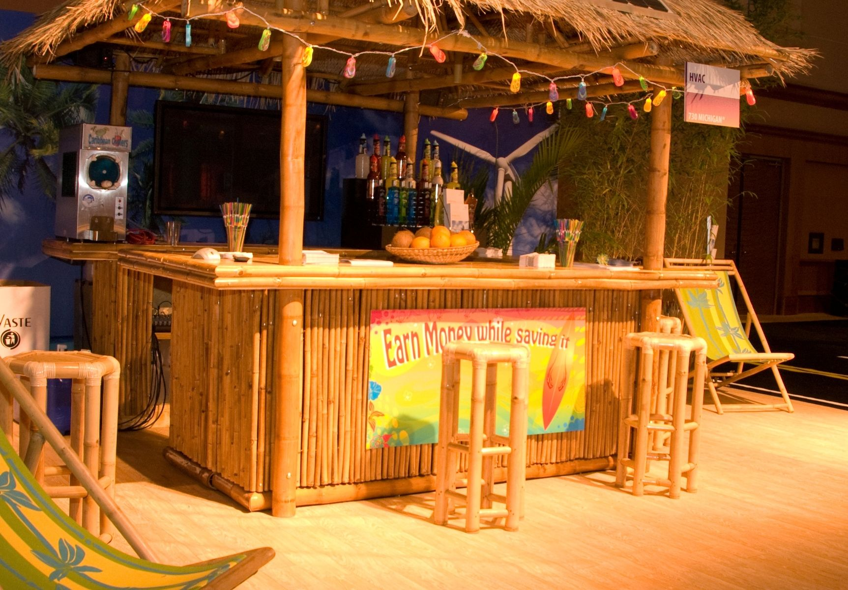 Handmade bamboo tiki display concession hut by suncoast for Stand pub