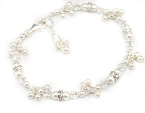 Custom Made Delicate Pearl & Crystal Charm Bracelet