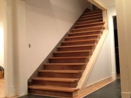 Custom Made Staircase With Walnut Accents, Walnut Risers