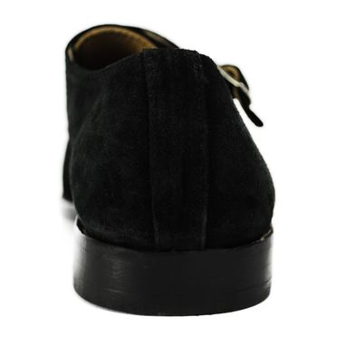 Custom Made Nietzsche Two Tone Black Suede Leather Goodyear Welt Double Monk Shoes. (All Sizes)