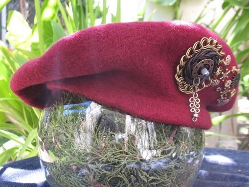 Custom Made Hat: Beret With Steampunk Accessories