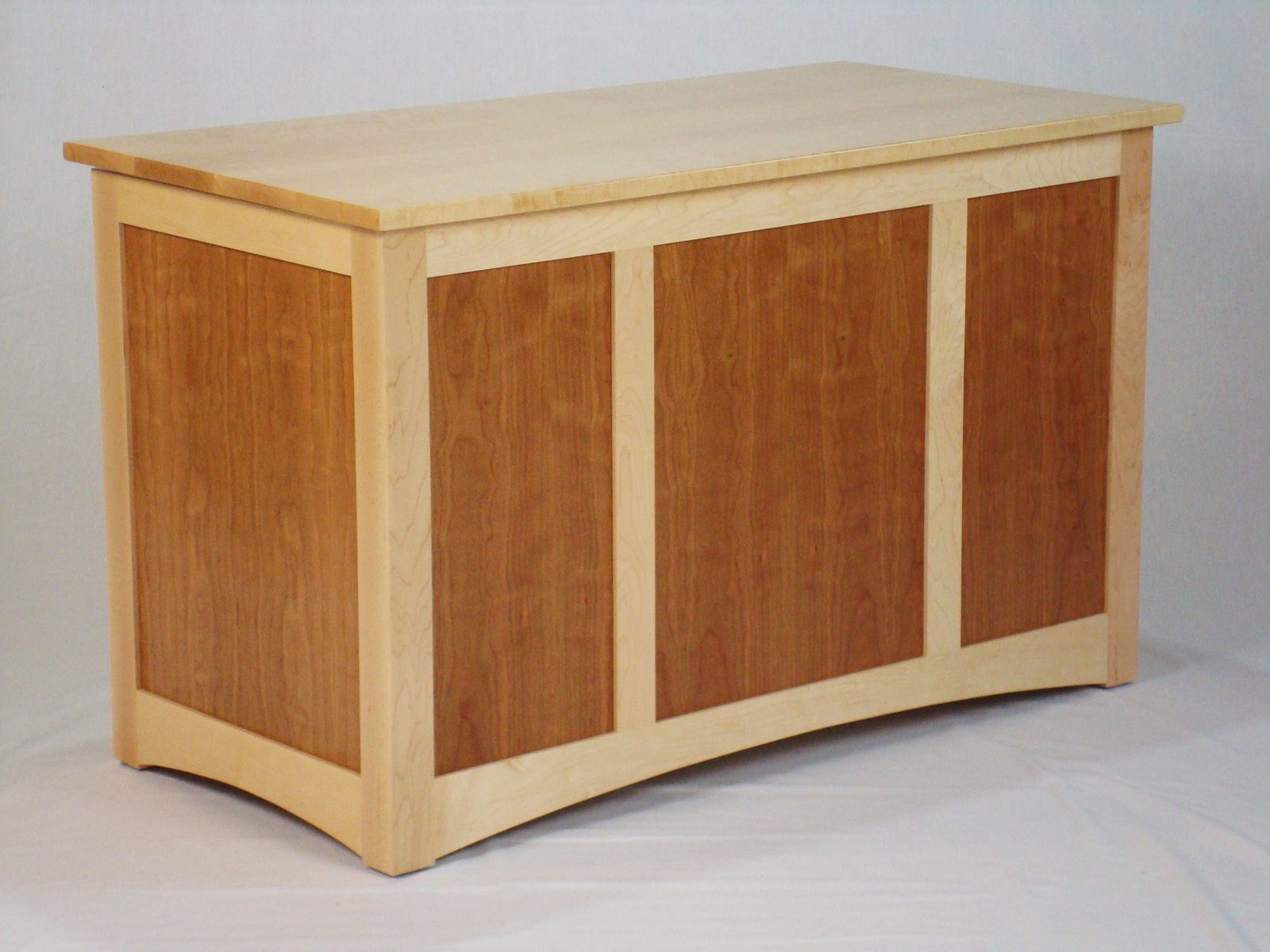 Custom Made Birdseye Maple And Figured Cherry Blanket Chest