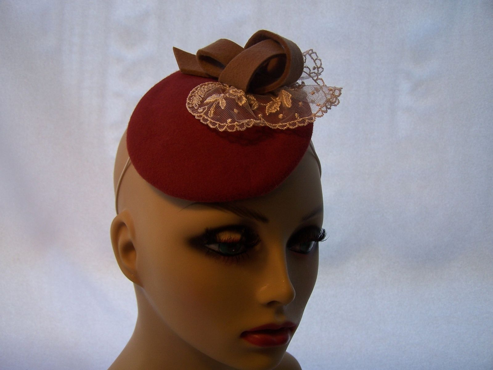 Hand Made Ruddy Red Wool Felt Fascinator Headpiece by Mixed Media by ... bfd1614500a