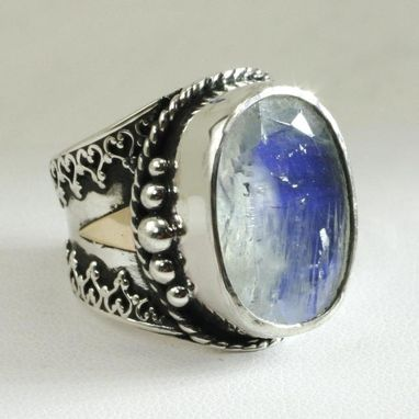 Custom Made Rainbow Moonstone Victorian Cocktail Ring