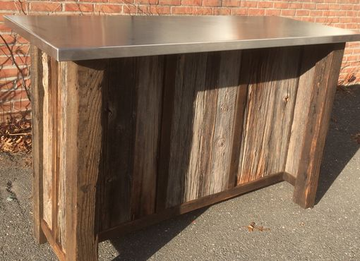 Custom Made Reclaimed Wood Kitchen Island Or Bar With Stainless Top