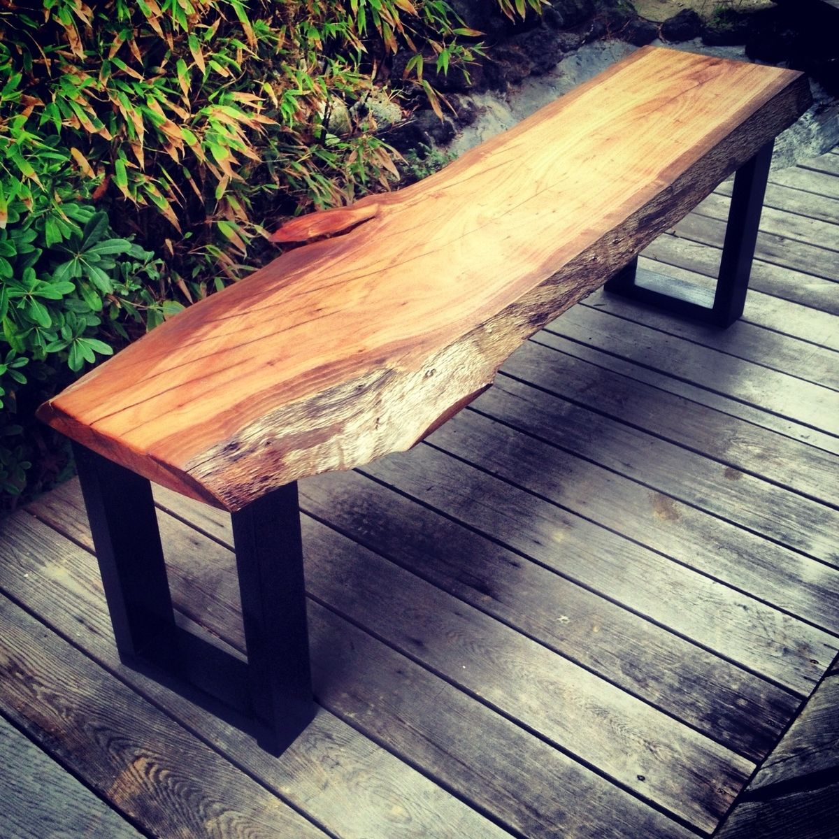 Custom Live Edge Eucalyptus Bench By The Timber Library
