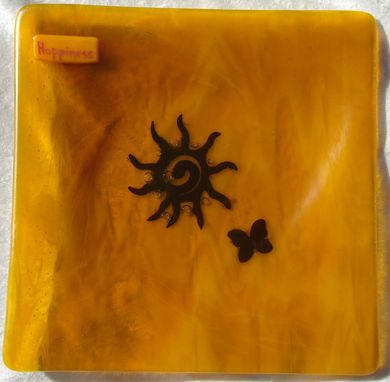 Custom Made Fused Glass Intention Plates