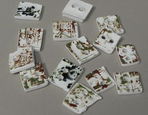 Custom Made Tribal Print Buttons, Clay, Fired, Hand Made