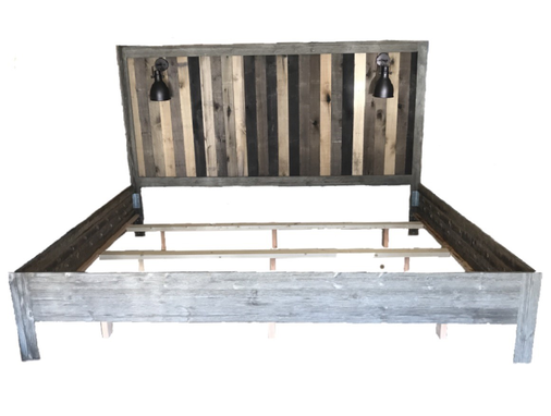 Custom Made Reclaimed Barn Wood Headboard With Frame & Lights