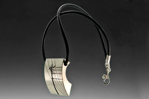 Custom Made Power Lines Necklace, Sterling Silver, Industrial Art Jewelry Pendant