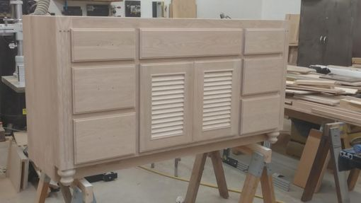 Custom Made Custom Vanity W/ Louvered Doors (Unfinished)