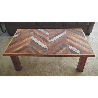 Custom Made Reclaimed Chevron Coffee Table