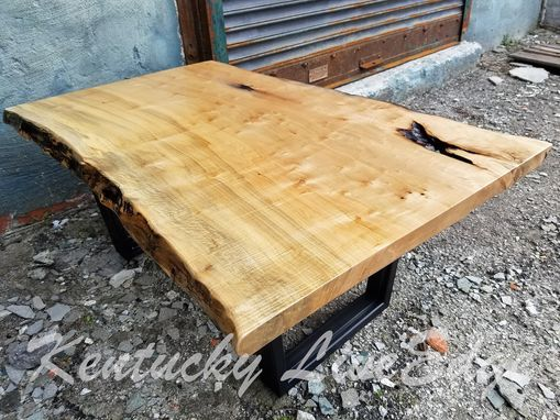 Custom Made Industrial Live Edge Coffee Table- Ambrosia Maple- Steel Legs- Modern- Rustic- Living Room