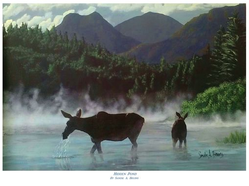 "Custom Made ""Hidden Pond"" - Moose Cow & Calf Enjoying A Quiet Morning"