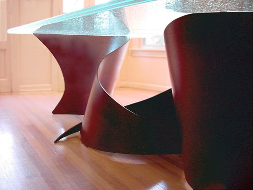 "Custom Made ""Serpents"" Dining Table - Cracked Glass And Leatherette Steel"