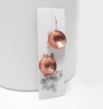 Custom Made Round Copper Earrings - Inverted Dome Earrings - Hammered Dangle Earrings