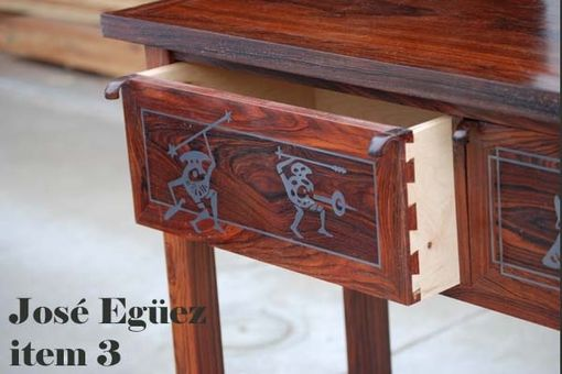 Custom Made Cocobolo Side Table With Silver Inlay