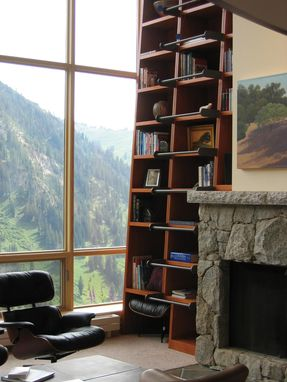 Custom Made Mountain Home Open Bookcase With Ladder